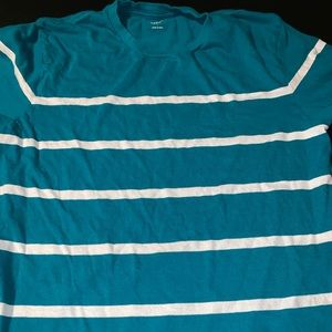 Teal colored striped short sleeved tee EUC
